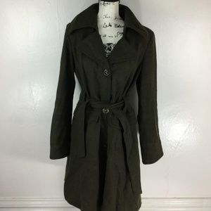 Donatella Jackets & Coats - DONATELLA Women's Solid Brown Belted Trench Coat